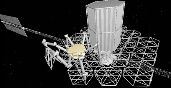 A conceptual CAD rendering of an assembly robot deploying a truss module. Folded truss modules are stored in a cargo housing unit, shown docked to the central hub. Doi:10.117/11.JATIS.2.4.041207 © Image courtesy of SPIE.